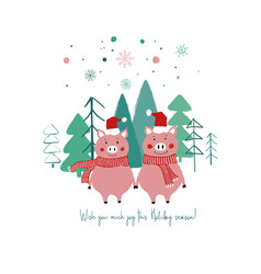 christmas card with funny pigs vector image