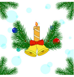 christmas decorations of pine trees vector image