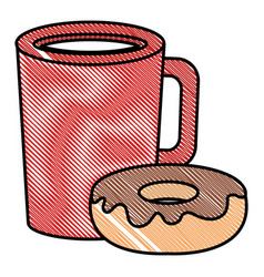 Coffee cup drink with donut vector