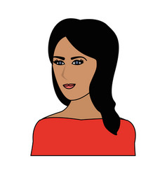 color image cartoon half body woman with long side vector image