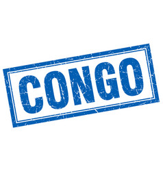 Congo blue square grunge stamp on white vector
