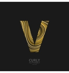 Curly textured Letter V vector