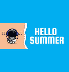 Cute astronaut with summer greeting banner vector