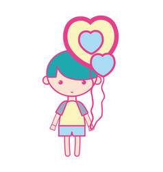 Cute boy with heart balloons and hairstyle design vector