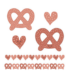 Cute pretzel cartoon with smiling face and heart vector