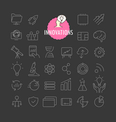 Different innovation icons collection web vector
