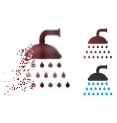Dispersed pixel halftone shower icon vector