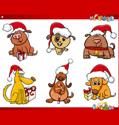 dog characters on christmas cartoon set vector image
