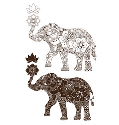 elephant decorated with indian ornament vector image