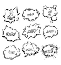 exclamation clouds sketch and onomatopoeia comic vector image