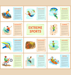 extreme sports skydiving and motorbike riding set vector image