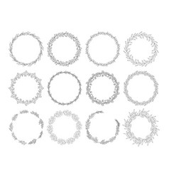 floral wreaths set line art vector image