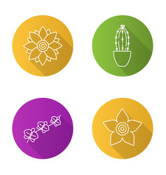 flowers flat linear long shadow icons set vector image