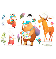 Forest animals hiking and backpacking adventures vector