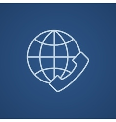 Global communications line icon vector