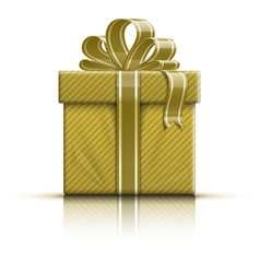Golden gift box with ribbon and bow vector