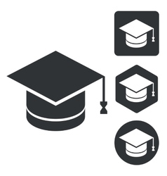 Graduation icon set monochrome vector