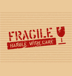Grunge fragile sign stamp on cardboard box for vector