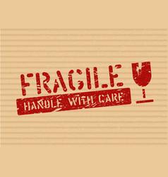Grunge fragile sign stamp on cardboard box vector