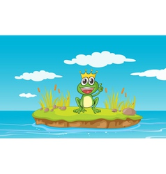 Happy King Cartoon Frog vector