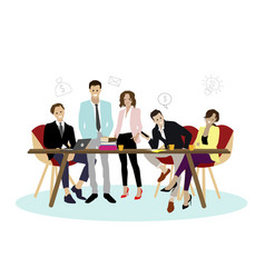 happy team office business man and woman vector image