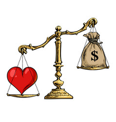 Heart and money on scales love overweight sack of vector
