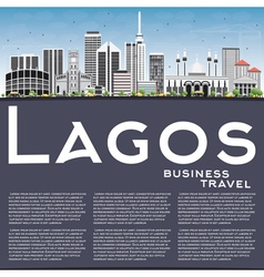 Lagos Skyline with Gray Buildings Blue Sky vector image