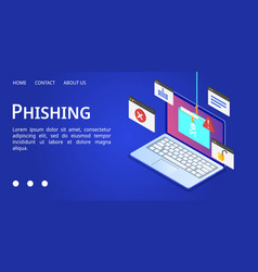 Laptop phishing banner isometric style vector
