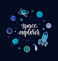 lettering poster space explorer in space vector image