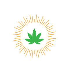 logo design with light and and leaf vector image