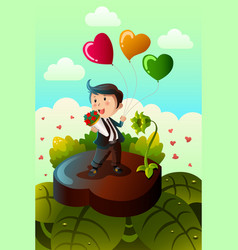 Man carrying heart shaped balloons and red roses vector
