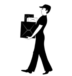 Man in uniform carries cardboard boxes vector image