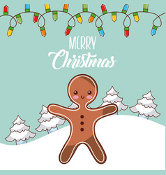 Merry christmas gingerman tree snow lights winter vector