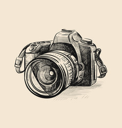 Modern camera in doodle style vector