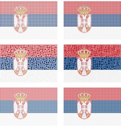 Mosaic Serbia flag set vector