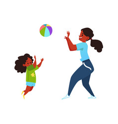 Mother and her child playing ball cartoon flat vector