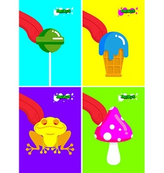 Narcotic substances Acidic lollipop and Frog vector