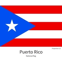 National flag of Puerto Rico with correct vector