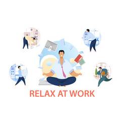 office life routine flat set vector image