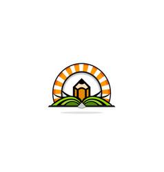 Open book pencil education logo vector