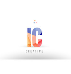 Orange blue alphabet letter ic i c logo icon vector