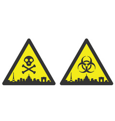 paris danger emergency biological hazard signs vector image