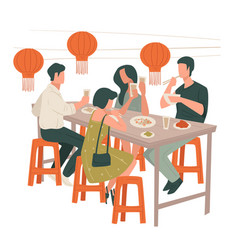 People eating in chinese restaurant lunch of vector
