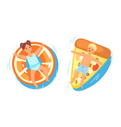 people on inflatable mattress kids boy and vector image