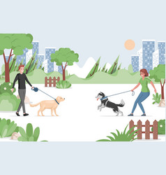 People walking in city park with domestic pets vector