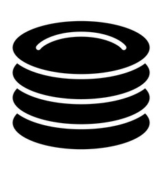 Plates solid icon dishes vector