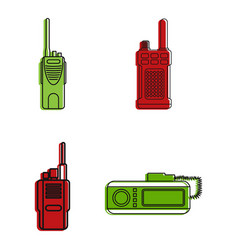 radio station icon set color outline style vector image