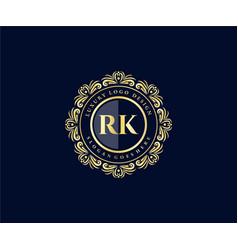 Rk initial letter gold calligraphic feminine vector