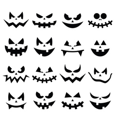Scary Halloween pumpkin faces icons set vector