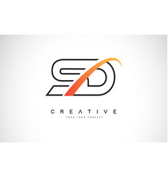 sd s d swoosh letter logo design with modern vector image